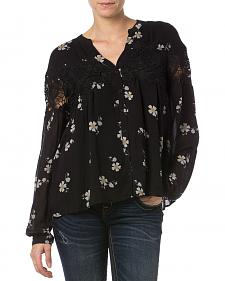 Miss Me Black Lace Floral Button Down Top