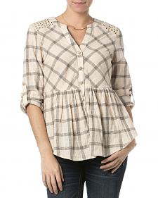 Miss Me Taupe Checkered Peplum Top