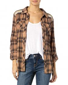 Miss Me Brown Plaid Lace Back Top