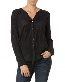 Miss Me Black Y-Neck Snap Front Top