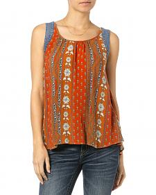 Miss Me Orange Mix Print Tank Top