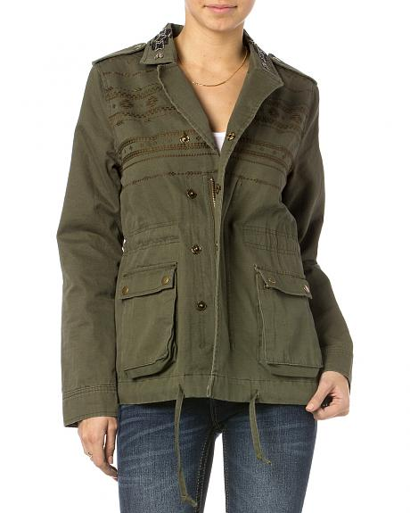 Miss Me Olive Snap To It Cargo Jacket