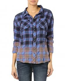 Miss Me Blue Plaid Wrinkle Crochet Down Shirt
