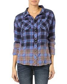 Miss Me Blue Plaid Wrinkle Crochet Down Shirt