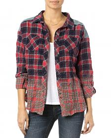 Miss Me Red Plaid Wrinkle Crochet Shirt