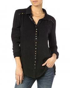 Miss Me Black Studded Button Shirt