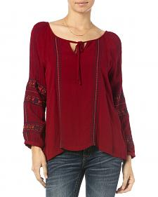 Miss Me Burgundy Embroidered Long Sleeve Peasant Top