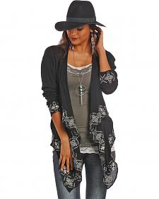 Rock and Roll Cowgirl Black Crinkled Gauze Wrap Cardigan
