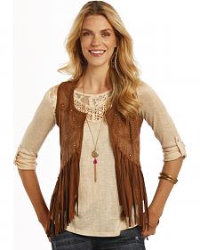 Rock and Roll Cowgirl Brown Miscrosuede Fringe Vest