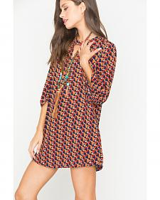 Miss Me Multi Red 3/4 Sleeve Printed Shift Dress