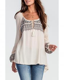 Miss Me Women's Taupe Long Sleeve Peasant Top