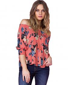 Miss Me Women's Coral Off-the-Shoulder Floral Top
