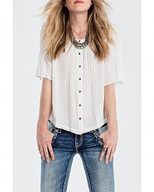 Miss Me Women's Ivory Fringe Trim Blouse