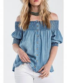 Miss Me Women's Denim Off the Shoulder Top