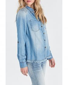 Miss Me Women's Indigo Denim Long Sleeve Shirt