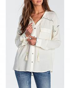 Miss Me Women's Ivory High-Low Embroidered Long Sleeve Blouse