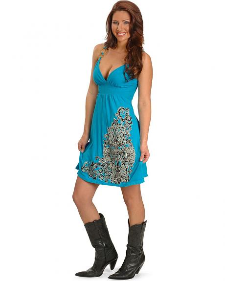 Rock & Roll Embroidered Blue Babydoll Dress