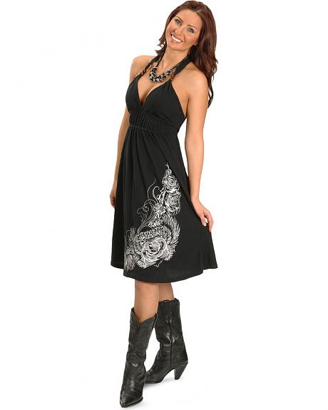 Rock & Roll Cowgirl Embroidered Black Racer Back Dress