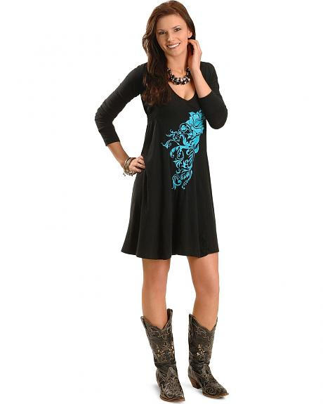 Rock & Roll Cowgirl Embroidered Knit Dress