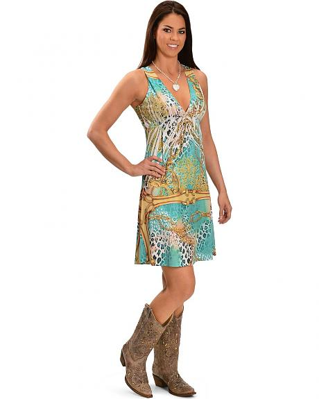 Panhandle Slim Lace Back Sublimation Print Dress
