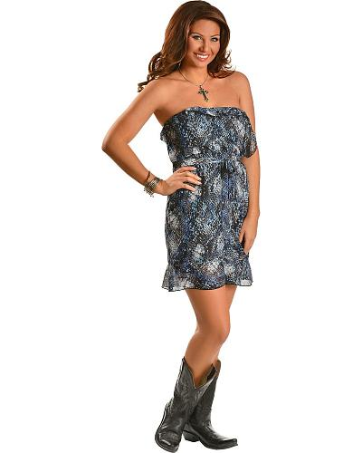 Rock & Roll Cowgirl Ruffled Animal Print Strapless Dress Western & Country D5-3475-45
