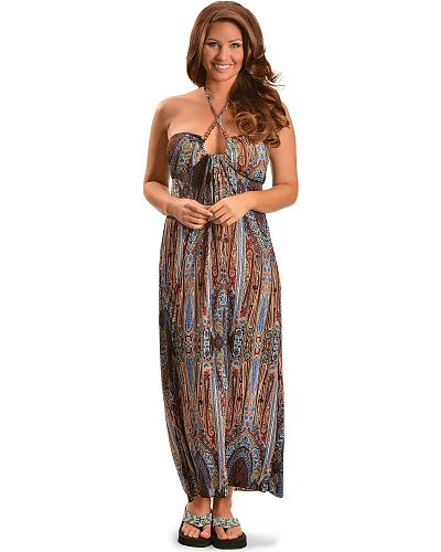 Rock & Roll Cowgirl Paisley Print Maxi Dress Western & Country 19N3068-99