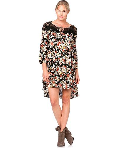 Miss Me Lace Inlay Floral Print Dress Western & Country MDD020
