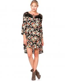 Miss Me Lace Inlay Floral Print Dress