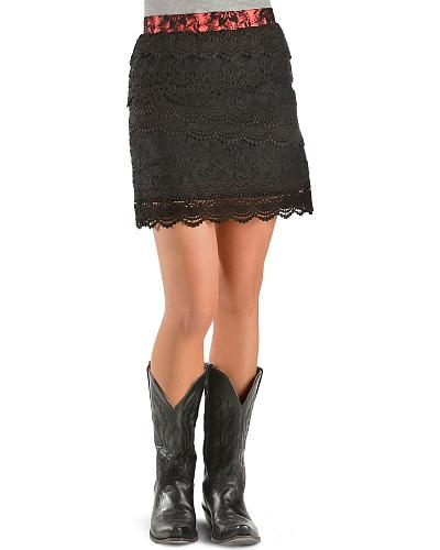 Miss Me Tiered Black Lace Skirt Western & Country MDS001 BLK