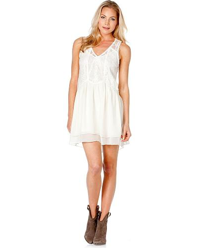 Miss Me Layered Lace Sleeveless Dress Western & Country MDD044 OWHT