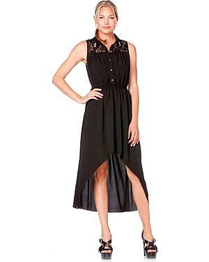 Miss Me High-Low Lace Yoke Sleeveless Dress