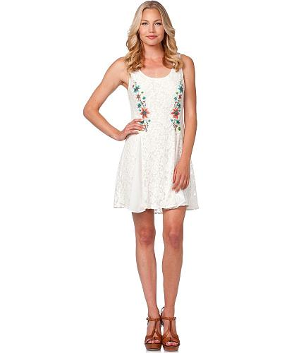 Miss Me Floral Embroidered White Lace Sleeveless Dress Western & Country MDD037-BLK