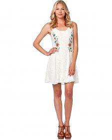 Miss Me Floral Embroidered White Lace Sleeveless Dress