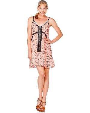 Miss Me Beaded Printed Pink Dress