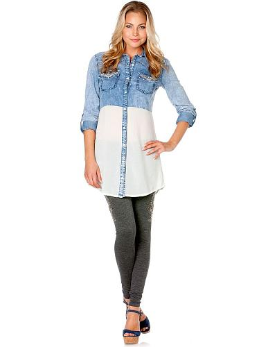 Miss Me Sheer Block Chambray Tunic Western & Country MDD011 DN