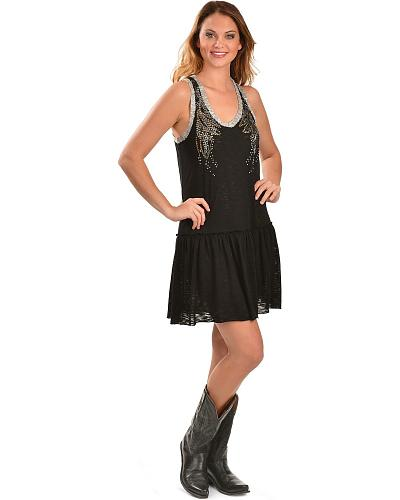 Miss Me Black Embellished Drop Waist Dress Western & Country MDD051