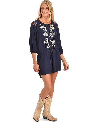 Miss Me Embroidered Peasant Dress Western & Country MDD055L