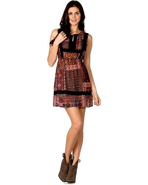 Miss Me Woven Lace Trim Dress
