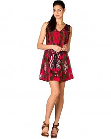 Miss Me Fuchsia Ikat Lace Back Dress
