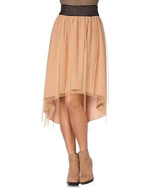 Miss Me Metallic Mesh High-Low Skirt