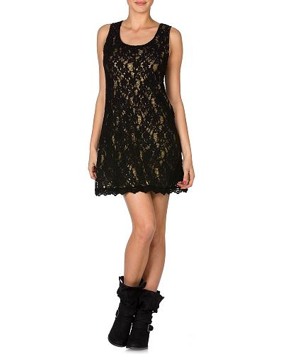 Miss Me Metallic Lined Lace Dress Western & Country MDD069L   BLACK