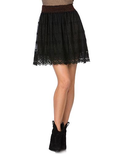 Miss Me Embellished Mesh Lace Skirt Western & Country MDS015S   BLACK