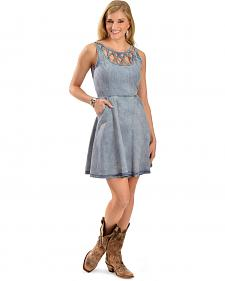 Miss Me Women's Denim Lattice Dress