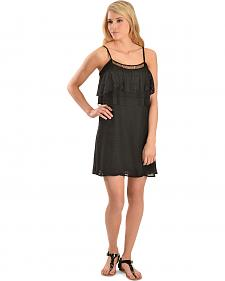 Miss Me Women's Black Lace Ruffle Dress