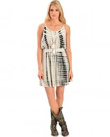 Miss Me Women's Black & White Tie-Dye Dress