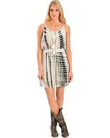 Miss Me Women's Black & White Tie-Dye Dress