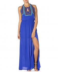 Miss Me Women's Embroidered Halter Maxi Dress