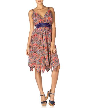 Miss Me Womens Coral & Navy V-Neck Dress