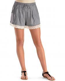 Moa Moa Lace Trim Denim Shorts