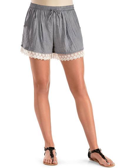 Moa Moa Lace Trim Denim Shorts